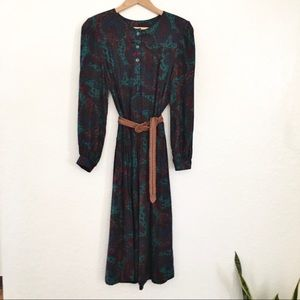 1980s shirt dress paisley bishop puff long sleeve